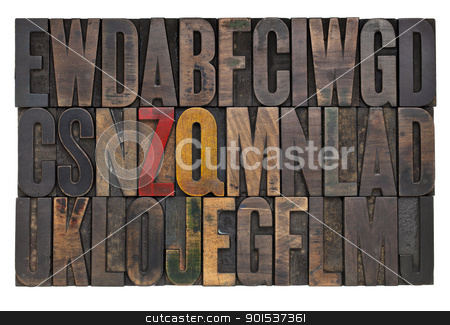 vintage letterpress wood type stock photo, random letters of alphabet abstract - vintage wood letterpress printing blocks with ink patina by Marek Uliasz