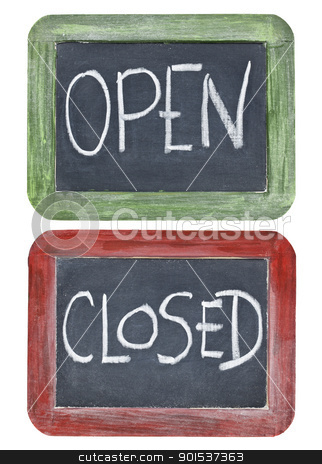 open and closed on blackboard stock photo, open and closed signs - white chalk handwriting on two small slate blackboards in grunge painted wood frames by Marek Uliasz