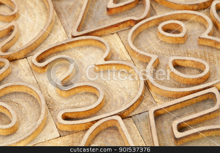 number abstract in letterpress type stock photo, number abstract in vintage wood letterpress type - outlined font by Marek Uliasz