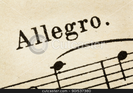 allegro - fast music tempo stock photo, allegro -  fast, quickly and bright music tempo - macro detail from vintage sheet music by Marek Uliasz