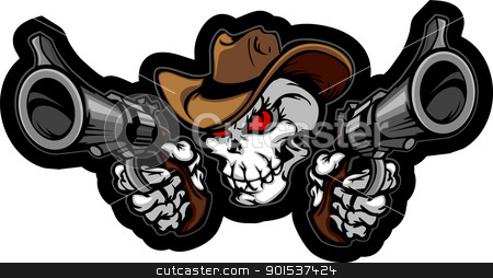 Skull Cowboy Aiming Guns stock vector clipart, Graphic Image of a Cowboy Skull Shooting Pistols by chromaco