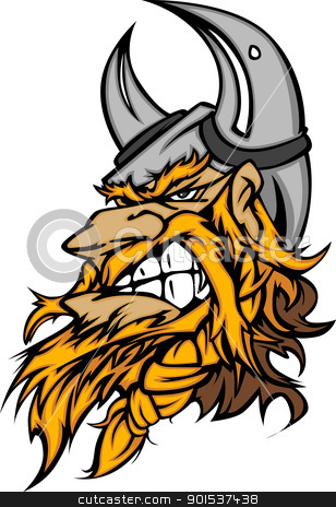 Cartoon Viking Mascot Head Vector Image with Horned Helmet stock vector clipart, Viking Norseman Head with Helmet Graphic Mascot Vector Image by chromaco