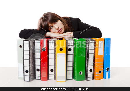 Full of work stock photo, Exhausted woman in the office resting over  the folders, isolated on white background by ikostudio