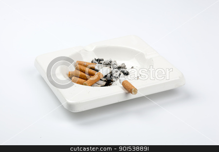 cigarette stock photo, ashtray full of cigarettes on white  by Rob Bouwman