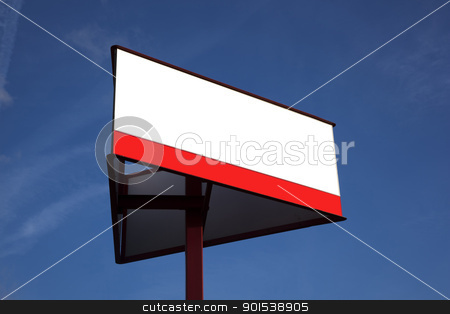 sign stock photo, sing with white board and blue sky by Rob Bouwman