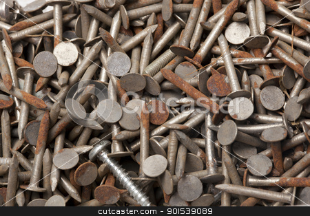 nails stock photo, macro of rusty nails by Rob Bouwman