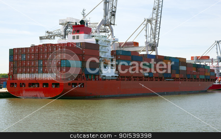 container ship  stock photo, container ship in the harbour of rotterdam by Rob Bouwman