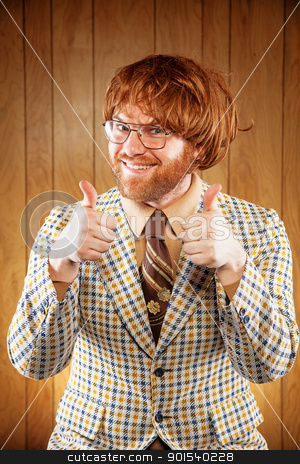 Happy Nerdy 60s Game Show Host Giving 2 Thumbs Up stock photo, Excited 60s Game Show Host Giving 2 Thumbs Up audience. Wearing a patterned sports coat and a very ugly retro brown tie. The game show host is wearing a red toupee and a pair of thin rimmed glasses. by Stuart Wainstock