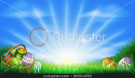 Easter eggs field background stock vector clipart, Easter background with decorated Easter eggs and Easter eggs in basket in a sunny field by Christos Georghiou
