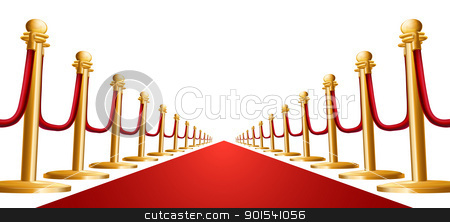 Velvet rope and red carpet illustration stock vector clipart, Illustration of a red velvet rope and red carpet by Christos Georghiou