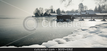 winter lake stock photo, A winter scenery at Starnberg lake in Germany by Markus Gann