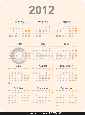 2012 year calendar stock photo, 2012 year calendar vector illustration. Dark letters on a light orange background. by olinchuk