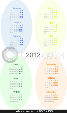 2012 year calendar stock photo, 2012 year calendar vector illustration. Winter, summer, spring and autumn by olinchuk