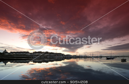 Sunset panorama stock photo, Evening sky at Malahide Marina Harbour, Ireland by Rafal Stachura