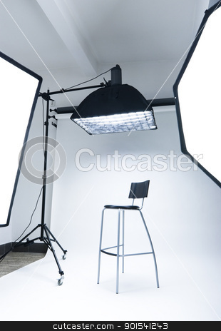 Photo studio stock photo, Photo studio setup with lighting equipment by Tiramisu Studio