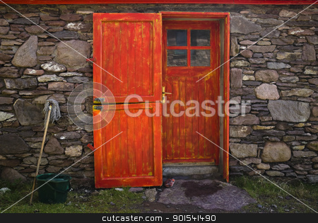 Historic Cottage Door and Window stock photo, Old historic stone cottage door and window, County Kerry, Ireland by Tiramisu Studio