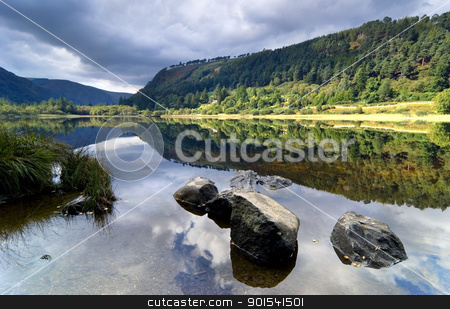 Upper Lake in Glendalough stock photo, Upper Lake in Glendalough Scenic Park, Ireland by Tiramisu Studio