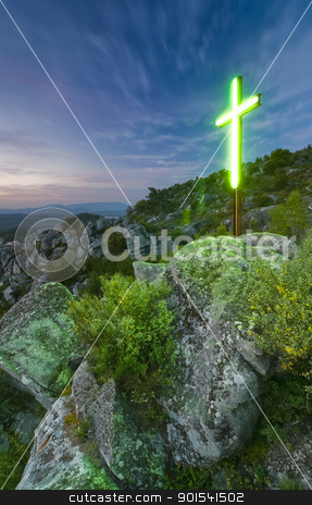 Lighting Cross stock photo, Lighting cross in the mountains. Portugal, Minho Province by Rafal Stachura