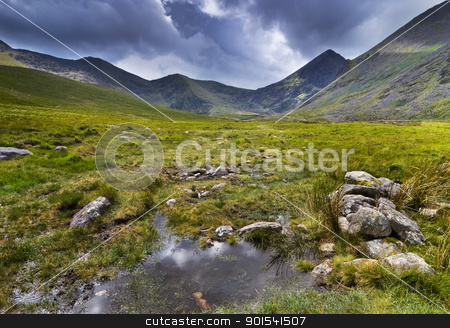 Mountain landscape stock photo, Mountain landscape shot during rainy weather. Macgillycuddy's Reeks, Iveragh Peninsula, Ireland by Tiramisu Studio