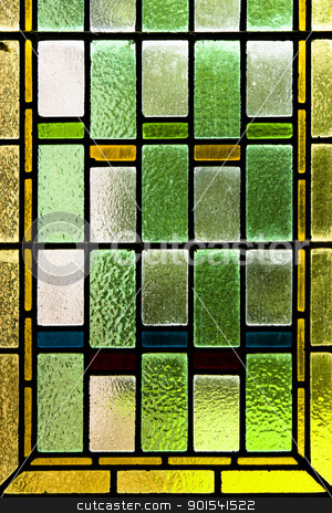 Colorful stained glass stock photo, Close up of colorful stained glass by Tiramisu Studio