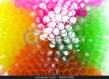 Colorful drinking straws stock photo, Colorful plastic drinking straws arranged in colored background by Tiramisu Studio