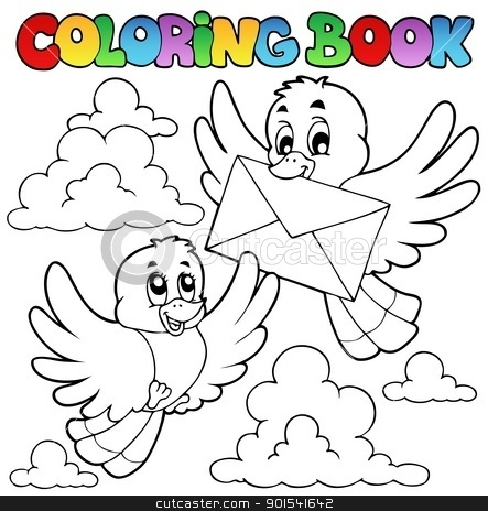 Coloring book birds with envelope stock vector clipart, Coloring book birds with envelope - vector illustration. by Klara Viskova