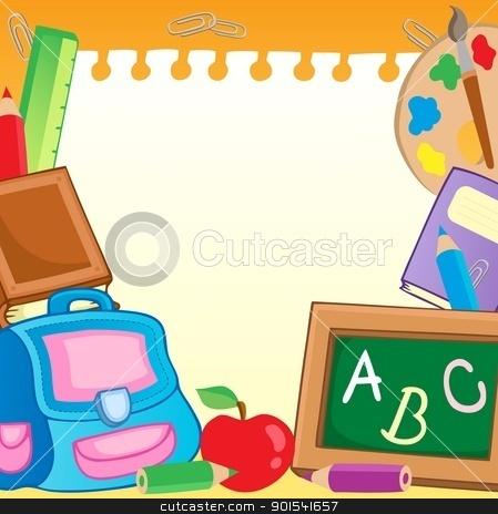Frame with school supplies 2 stock vector clipart, Frame with school supplies 2 - vector illustration. by Klara Viskova