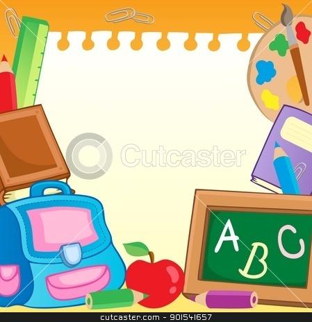 Frame with school supplies 2 stock vector clipart, Frame with school supplies 2 - vector illustration. by Klara Viskova