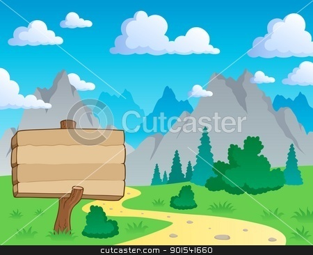Mountain theme landscape 2 stock vector clipart, Mountain theme landscape 2 - vector illustration. by Klara Viskova