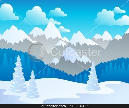 Mountain theme landscape 4 stock vector clipart, Mountain theme landscape 4 - vector illustration. by Klara Viskova