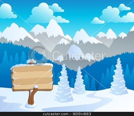 Mountain theme landscape 5 stock vector clipart, Mountain theme landscape 5 - vector illustration. by Klara Viskova