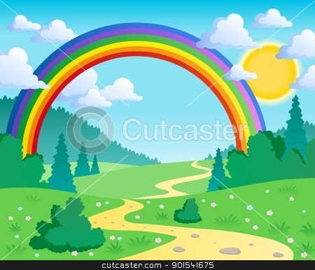 Spring theme landscape 2 stock vector clipart, Spring theme landscape 2 - vector illustration. by Klara Viskova