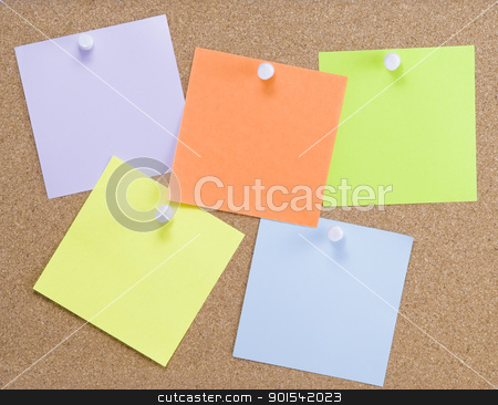 Colorful sticky notes stock photo, Colorful sticky notes attached to a corkboard with white thumbtacks by Rafal Stachura