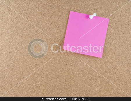 Colorful sticky note stock photo, Colorful sticky blank note attached to a corkboard white thumbtack by Tiramisu Studio