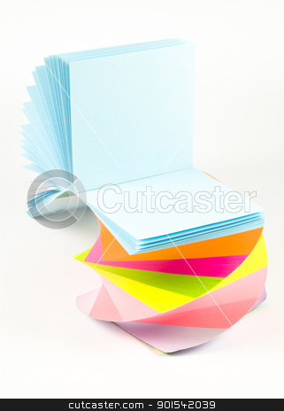 Colorful sticky notes stock photo, Colorful sticky notes isolated on white background by Tiramisu Studio