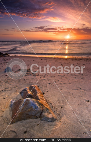 Sunset in Esposende stock photo, Sunset on Atlantic beach in Esposende Village, Forte de Sao Joao Baptista, Minho, Portugal by Rafal Stachura