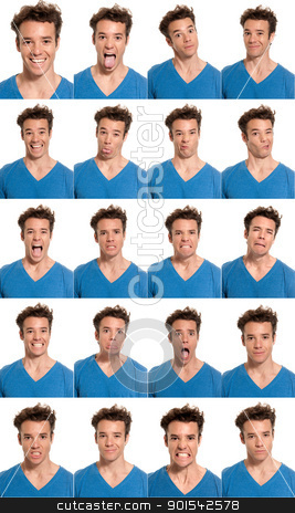 Young man face expressions composite isolated on white background stock photo, young man face expressions composite isolated on white background. by Daniel Garcia Mata