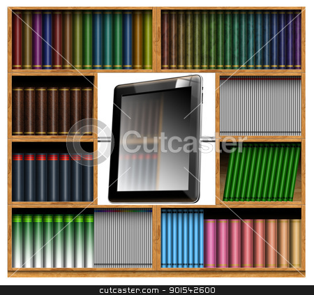 Concept of modern bookcase stock photo, Illustration of an old bookcase with the center a tablet computer  by catalby