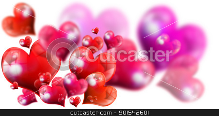 Hearts Background stock photo, Romantic background with red and fuchsia hearts on white background