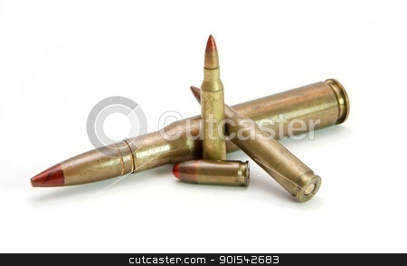 Pile of red-tipped tracer cartridges of various calibers isolated stock photo, Pile of red-tipped tracer cartridges of various calibers isolated by Shlomo Polonsky