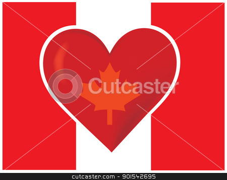 Heart Canadian Flag stock vector clipart, An image of the Canadian flag, with a big red heart at the centre. A maple leaf is superimposed on the heart. by Maria Bell