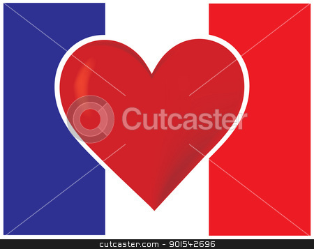 Heart France Flag stock vector clipart, An image of the French, flag with a big red heart at the centre. by Maria Bell