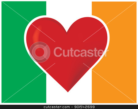 Heart Irish Flag stock vector clipart, An image of the Irish flag, with a big red heart at the centre. by Maria Bell