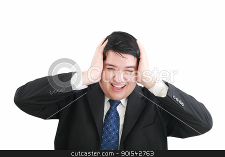 Frustrated young businessman pulling his hair, studio shot  stock photo, Frustrated young businessman pulling his hair, studio shot   by dacasdo