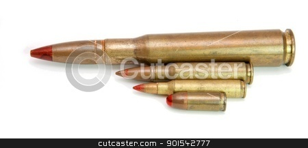 Four red-tipped tracer cartridges of various calibers isolated stock photo, Four red-tipped tracer cartridges of various calibers isolated by Shlomo Polonsky