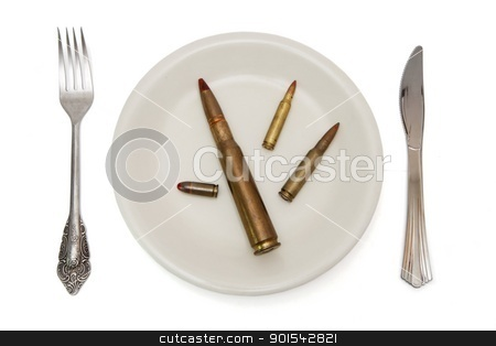 Various cartridges on the plate the isolated stock photo, Various cartridges on the plate the isolated by Shlomo Polonsky