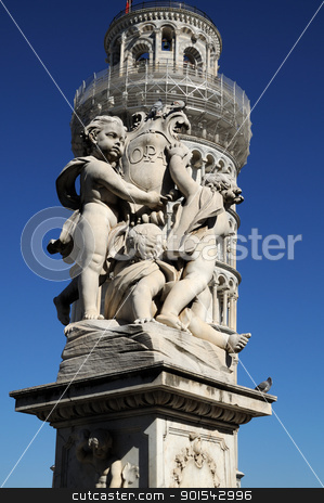 Fontana dei Putti (Pisa) stock photo, Pisa, Piazza dei miracoli, with the Basilica and the leaning tower by Maurizio Martini