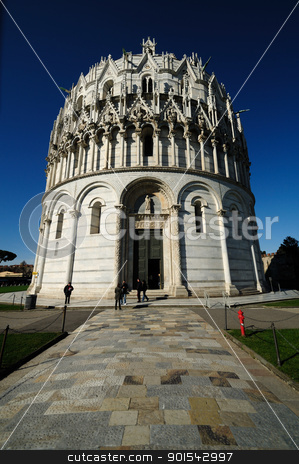 Battistero (Pisa) stock photo, Pisa, Piazza dei miracoli, with the Basilica and the leaning tower by Maurizio Martini