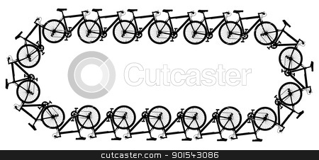 Bicycle chain stock vector clipart, Editable vector design of a chain made of generic bicycle silhouettes by Robert Adrian Hillman