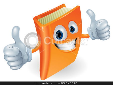 Thumbs up book cartoon character stock vector clipart, A happy book cartoon character mascot illustration giving a double thumbs up by Christos Georghiou